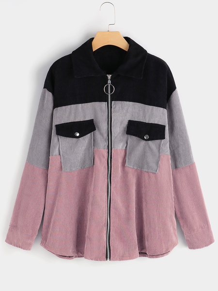 Plus Size Color Block Pocket Zipper Coat