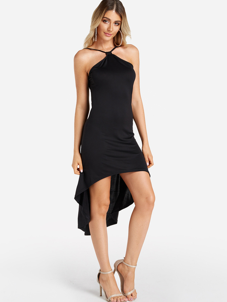 Black Backless Design Halter Sleeveless Sexy Dress