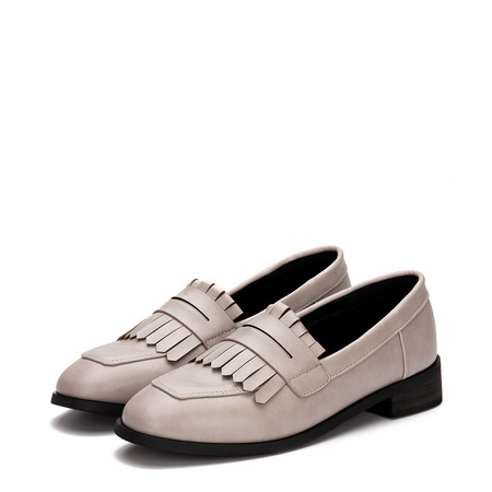 Apricot Leather Look Fringed Toe Chunky Heel Slip-on Loafers