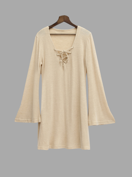 Khaki Casual Long Sleeves Lace-up Chest Sweater Dress