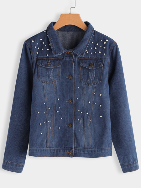 Plus Size Blue Pearl Beaded Denim Jacket