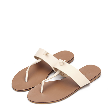 Apricot Leather Look Simple Style Flat Sole T-bar Strap Slippers