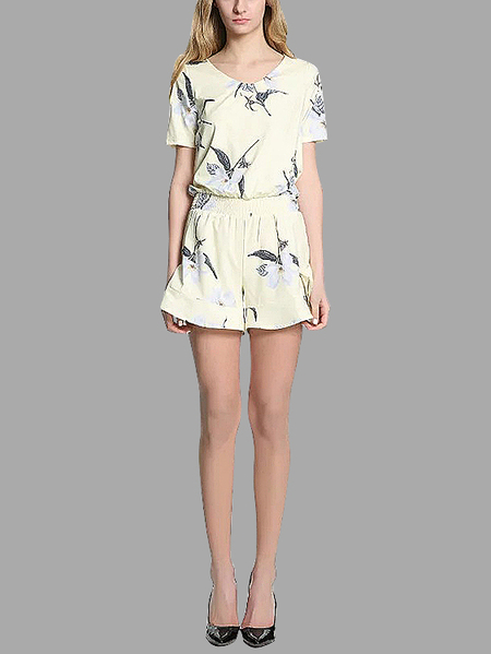 Floral Print Round Neck Short Sleeve Playsuit with Elastic Waistband