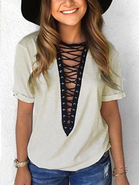 Grey Deep V-neck Lace-up Front T-shirts