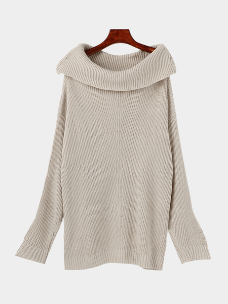 Gray High Neck Long Sleeves Loose Fit Sweater