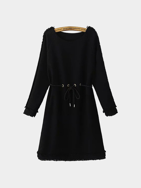 Black Tunic Dress with Raw Edge and Rope Tie Waist