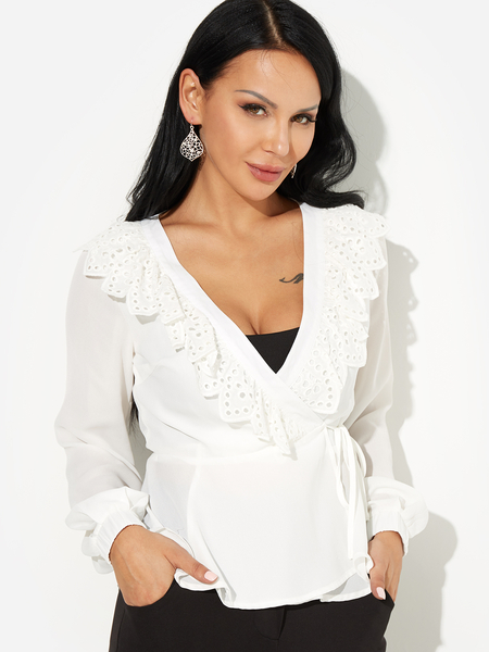 White V Neck Lace-up Sexy Blouses
