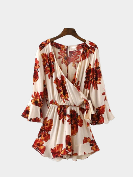 White Bohemian Floral Print Wrap Over V Neck Long Sleeve Playsuit