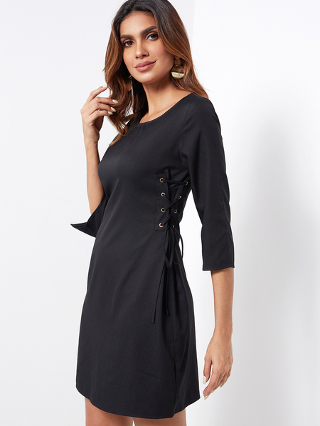Black Lace-up Design Plain Round Neck Silt at Cuffs Dresses