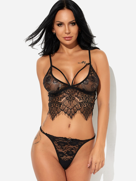 Black Delicate Lace Bralette and Thong Lingerie Set