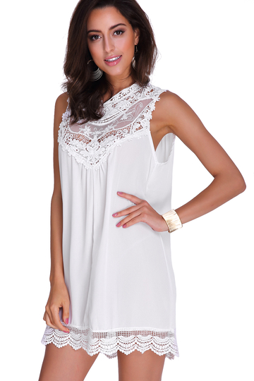 See-through Hollow Out Lace Insert Mini Dress