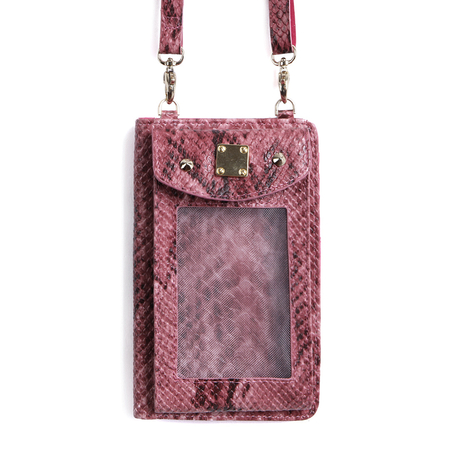 Purple Fashion Snake Effected Purse Bag With Shoulder Strap