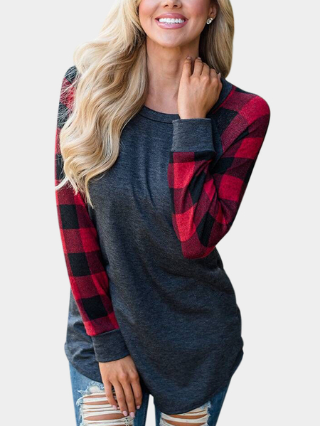 Grey Grid Round Neck Long Sleeves Sweaters