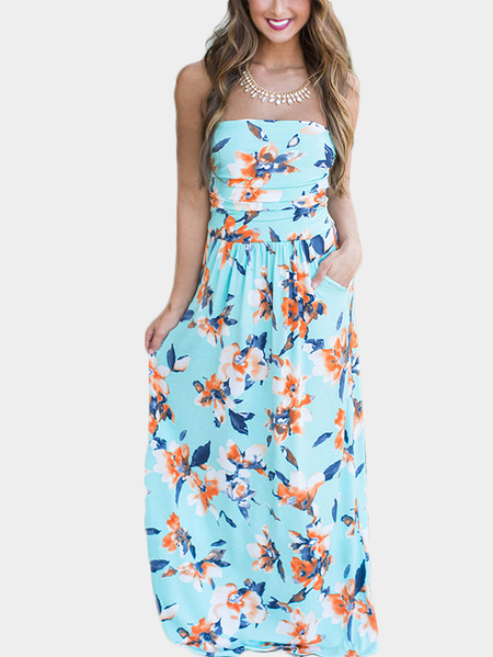 Random Floral Print Off the Shoulder Dress