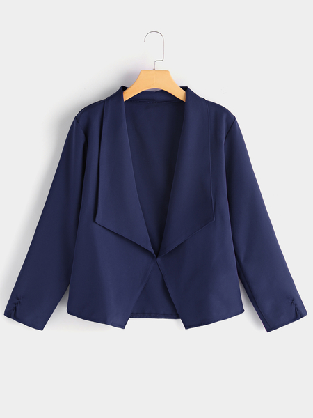 Yoins Navy Lapel Collar Blazer