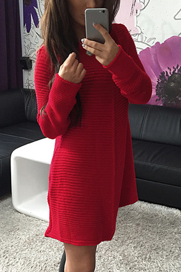 Red Woolen Knitting Long Sleeves Dress