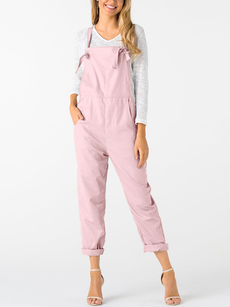 Pink Square Neck Sleeveless Overall Outfits