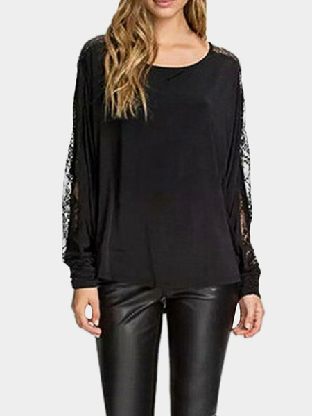 Loose Lace Insert See-through Blouse for Fall