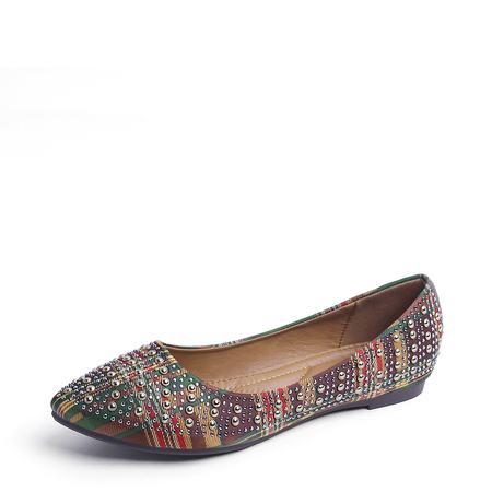 Plaid Jewelled Decoration Point Toe Flats