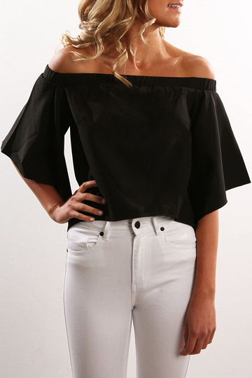 Black Chiffon Off-The-Shoulder Irregular Hem Top