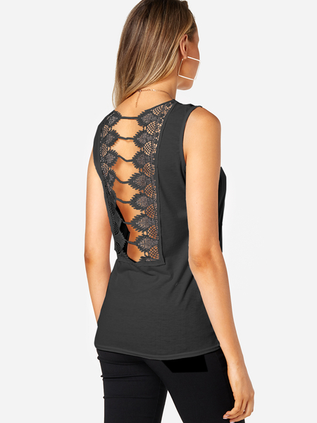 Black Lace Insert Cut Out Tank Top