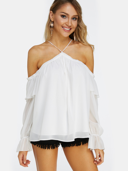 White Cold Shoulder Long Sleeves Halter Blouse