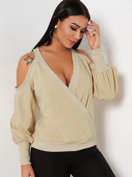 Beige Crossed Front Design Plain Cold Shoulder Long Sleeves Sweatshirts