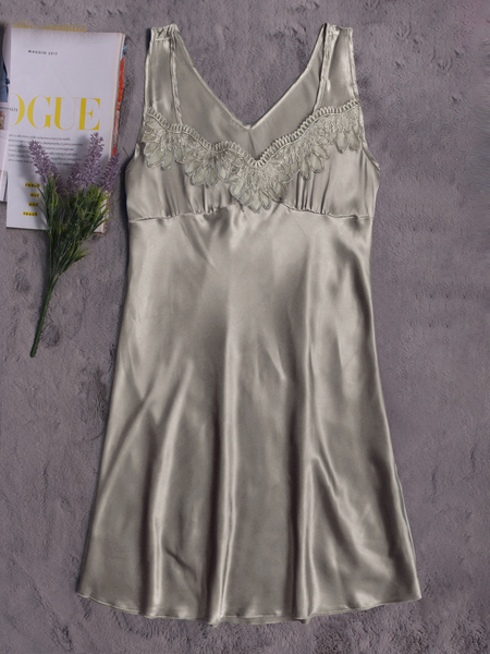 Grey-Green Silk Material Lace Trim Pajamas Dress
