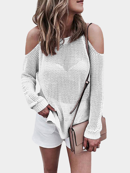 White Cold shoulder Long Sleeves Knitwear with Side Slit