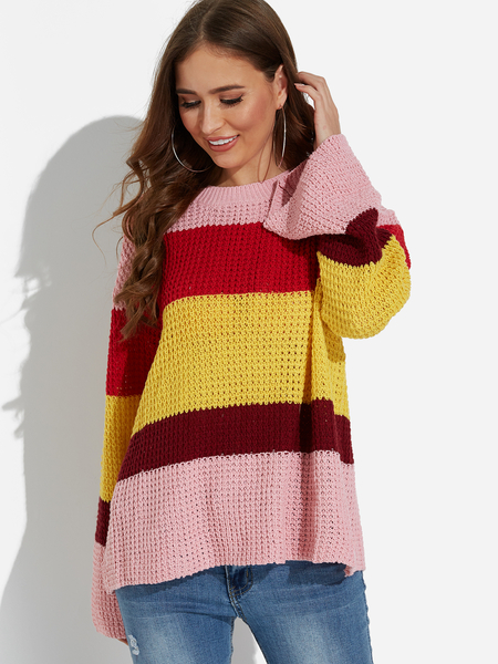 Pink Color Matching Round Neck Bell Sleeves Knitting Sweaters