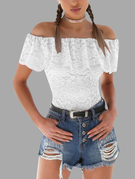 White Lace Off The Shoulder Short Sleeves Bodysuits