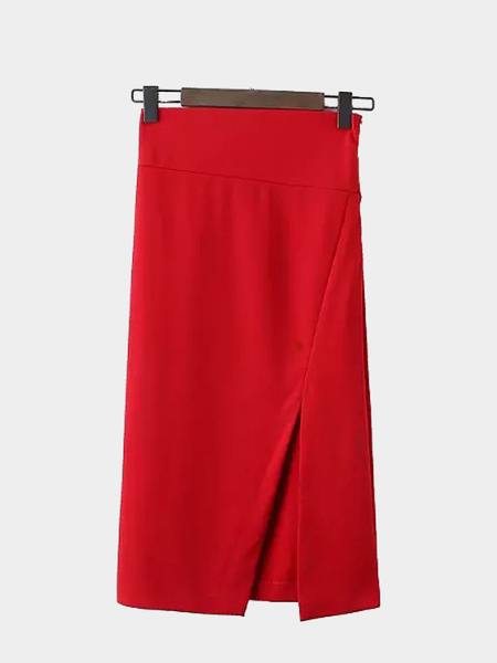 Pencil Skirt with Side Split in Red