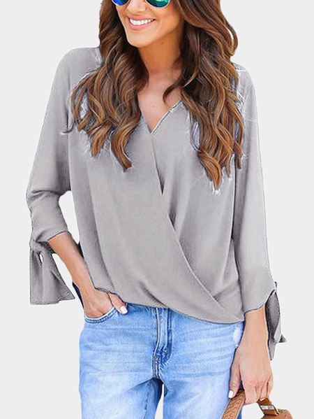Grey Crossed Front Design V-neck Self-tie Design Long Sleeves T-shirts