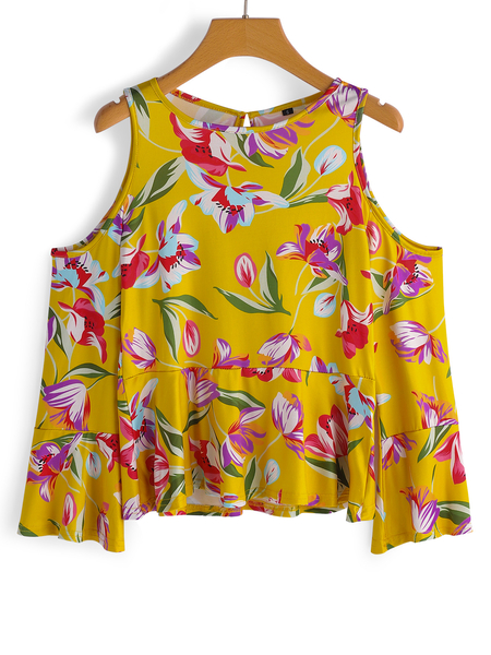 Yellow Random Floral Print Round Neck Cold Shoulder Bell Sleeves Blouses