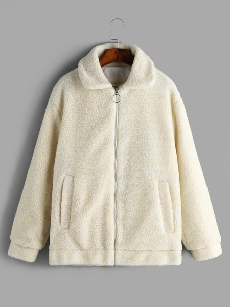White Slip Pockets Plain Lapel Collar Long Sleeves Zip Front Closure Woolen Coat