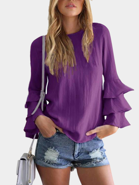 Purple Round Neck Flared Sleeves Blouse