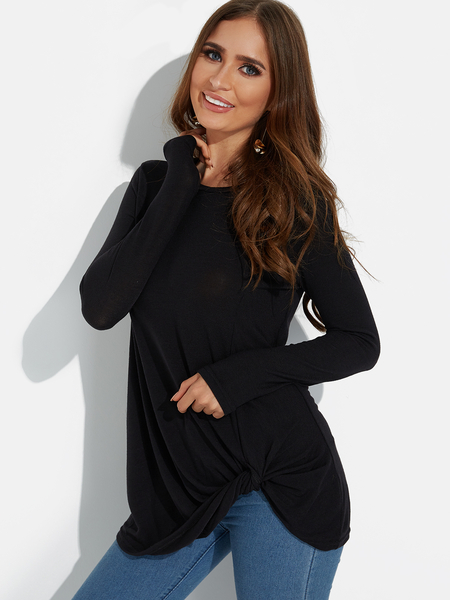 Black Twist Round Neck Long Sleeves Irregular Hem T-shirt