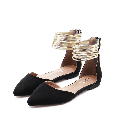 Black Suede Look Zip Closure Pointed Toe Flat Sandals With Gold Circles