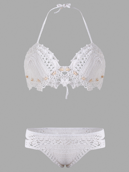 White Halter Shells Decor Crochet Bikini Sets