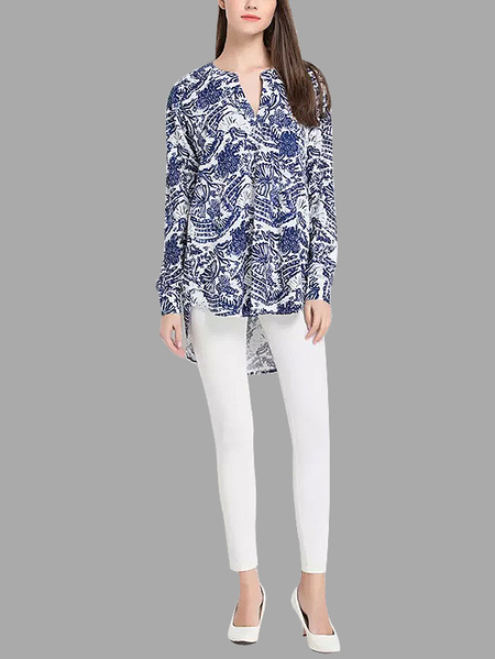 Floral Print Shirt in Navy