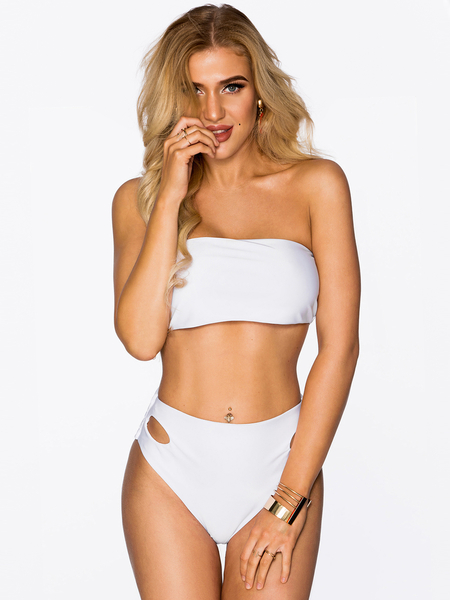 White Sexy High Waisted Bandeau Bikini Set