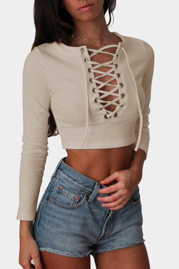 Khaki Fashion Lace-up Crop Top With Long Sleeves