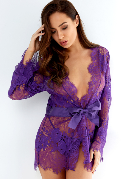 Purple Floral Eyelash Lace Trim Self-tie V-neck Pajamas with Thong