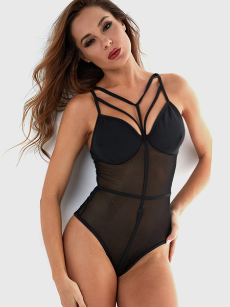 Black Sexy Mesh V-neck String Design Bodysuit Teddy