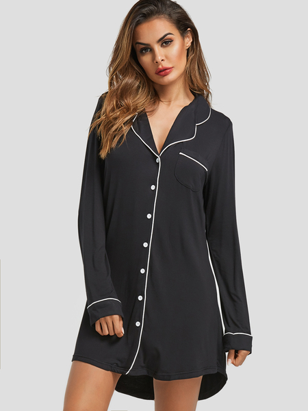 Black Dip Hem Polka Dot Shirt Nightdress