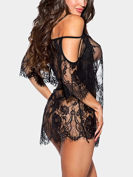 Black Scoop Neck See-through Lace Babydoll with T-thong
