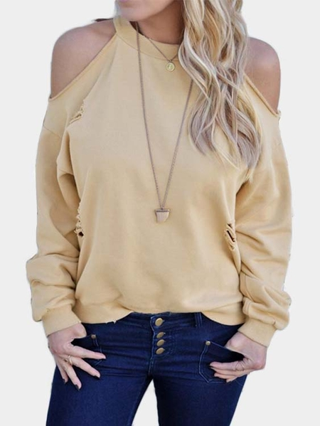 Khaki Cut Out Cold Shoulder Long Sleeves T-shirt