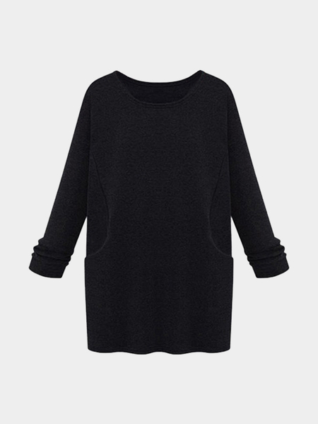 Black Casual Round Neck Long Sleeves T-shirt Dress