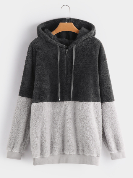 Plus Size Color Block Zipper Faux Fur Hooded Sweatshirt