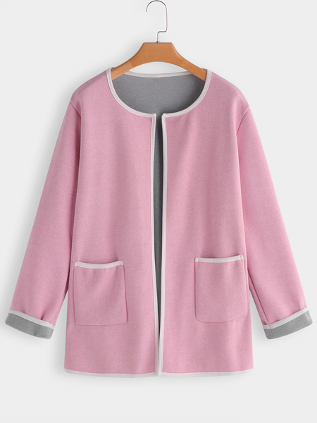 Pink Casual Side Pockets Knitted Coat